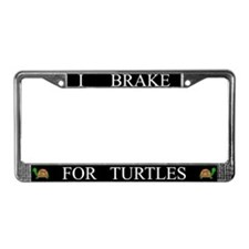 Black I Brake For Turtles License Plate Frame