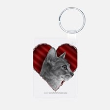 Abyssinian Cat Heart Keychains