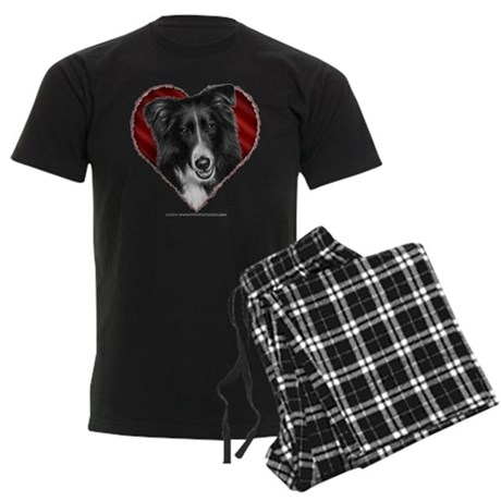 Border Collie Valentine Men's Dark Pajamas