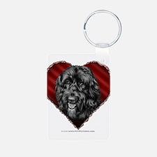 Black Labradoodle Valentine Keychains