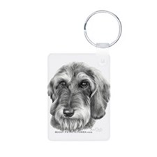 Cute Wire haired dachshund tile Keychains