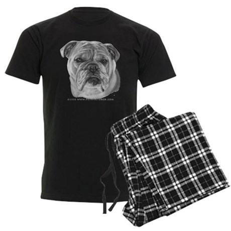 Allie, English Bulldog Men's Dark Pajamas