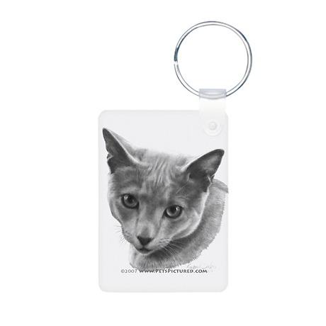 Russian Blue Cat Aluminum Photo Keychain