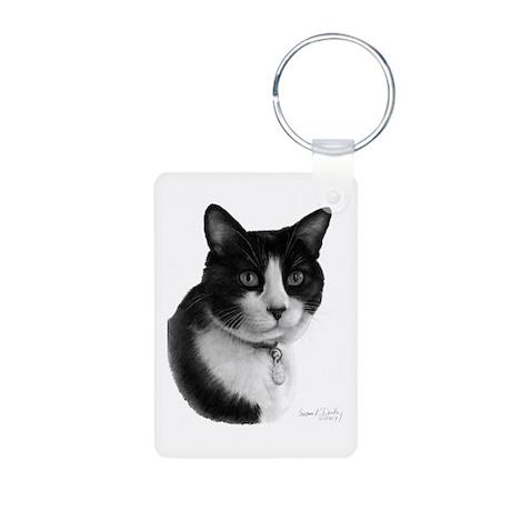 Tuxedo Cat Aluminum Photo Keychain
