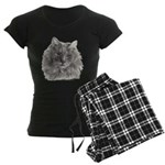 TG, Long-Haired Gray Cat Women's Dark Pajamas