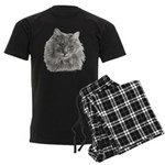TG, Long-Haired Gray Cat Men's Dark Pajamas