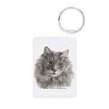 TG, Long-Haired Gray Cat Keychains