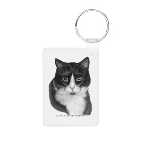 Black & White Kitty Aluminum Photo Keychain