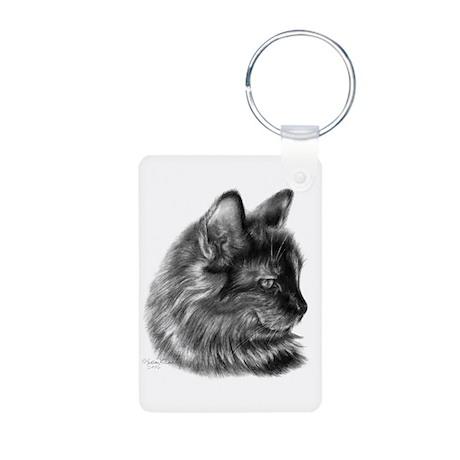 Tortoise Long-Hair Cat Aluminum Photo Keychain