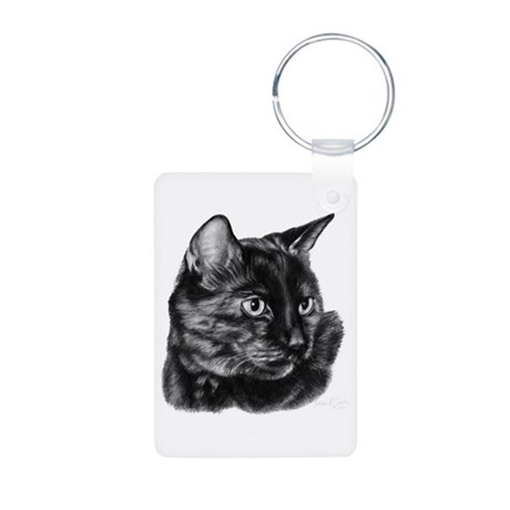 Tortoise Short-Hair Cat Aluminum Photo Keychain