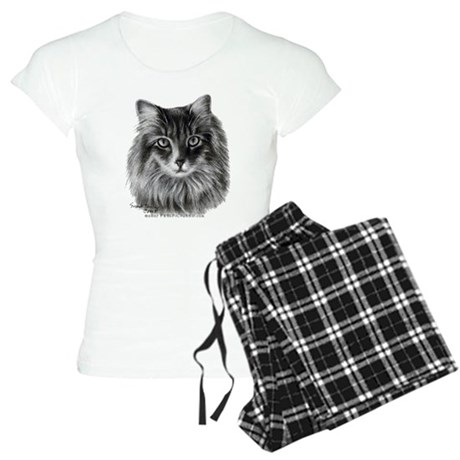 Long-Haired Gray Cat Women's Light Pajamas