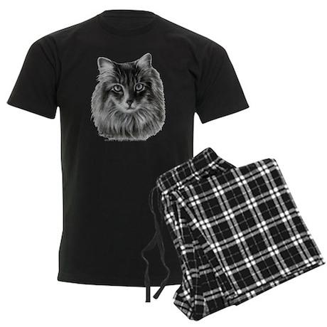 Long-Haired Gray Cat Men's Dark Pajamas