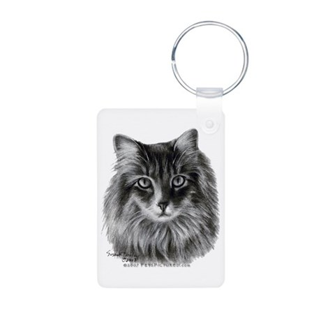 Long-Haired Gray Cat Aluminum Photo Keychain