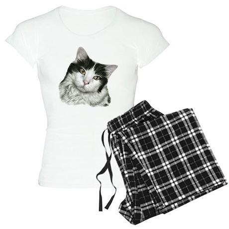 Pierre, Black & White Cat Women's Light Pajamas