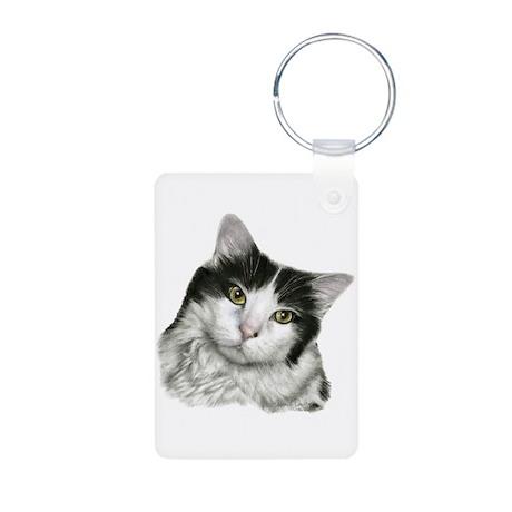 Pierre, Black & White Cat Aluminum Photo Keychain
