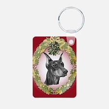 Doberman Pinscher Christmas Keychains