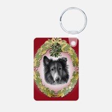 Rough Collie Christmas Keychains