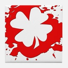 Bloody Four Leaf Clover - Tile Coaster