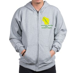Support Green/Yellow Zip Hoodie