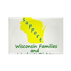 Support Green/Yellow Rectangle Magnet (10 pack)
