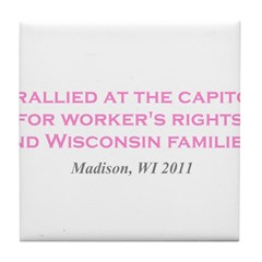 Rallied Pink Tile Coaster