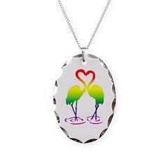 Flamingo Pride Necklace Oval Charm