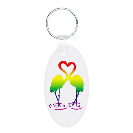 Flamingo Pride Aluminum Oval Keychain