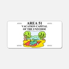 unny ufo alien abduction area Aluminum License Pla