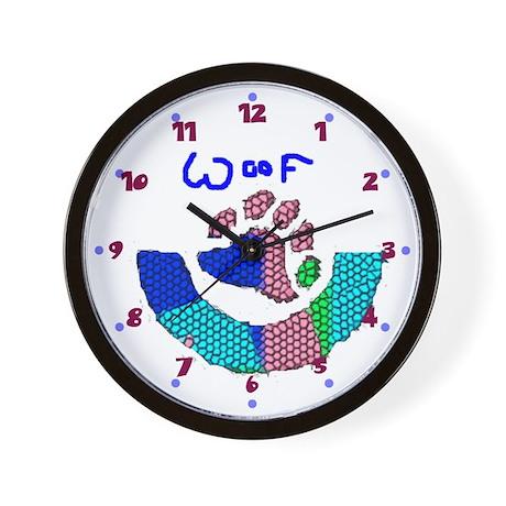 BEAR PAW_mosaic look multi colored WALL CLOCK