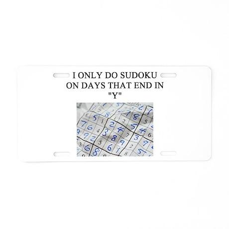 SUDOKU HUMOR GIFTS T-SHIRTS Aluminum License Plate