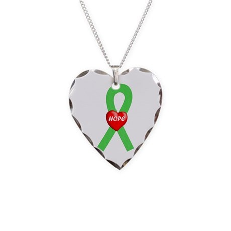 Lime Hope Necklace Heart Charm