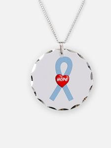 Lt. Blue Hope Necklace Circle Charm
