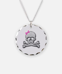 Chrome skull with bow 2 Necklace