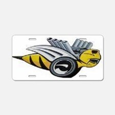 Neon Bee Aluminum License Plate