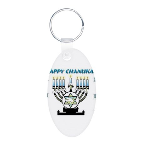Happy Chanukah Menorah Aluminum Oval Keychain