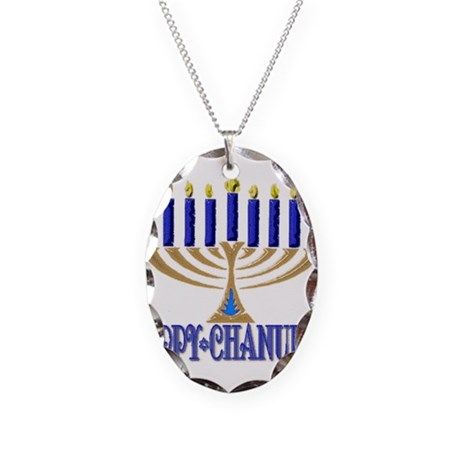 Menorah Necklace Oval Charm