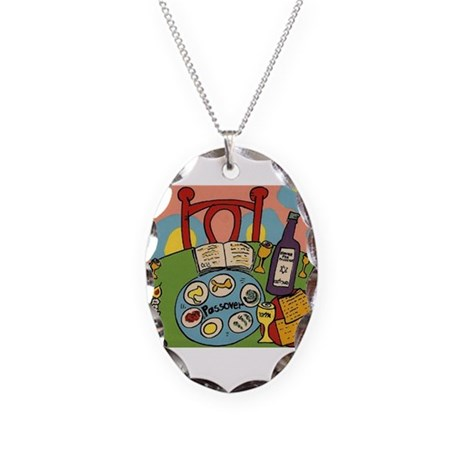Seder Table Necklace Oval Charm