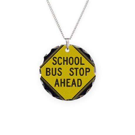 Bus Stop Black Necklace Circle Charm