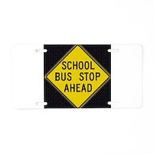 Bus Stop Black Aluminum License Plate