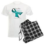 For My Hero Ovarian Cancer Men's Light Pajamas