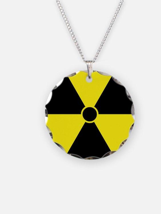 Yellow Radiation Symbol Necklace