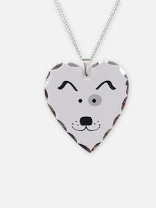Cartoon Dog Face Necklace Heart Charm