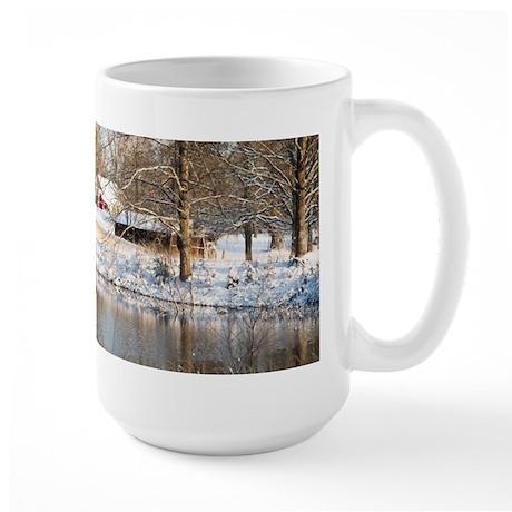 Tranquil Rural Snow Scene Large Mug