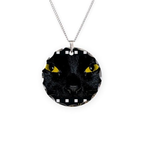 Black Cat Stare Necklace Circle Charm
