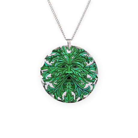 Green Man Gaze Necklace Circle Charm