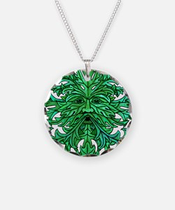 Green Man Gaze Necklace Circle Charm