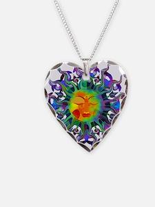 Chakra Sun Necklace Heart Charm