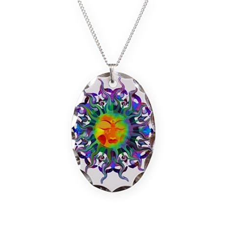 Chakra Sun Necklace Oval Charm