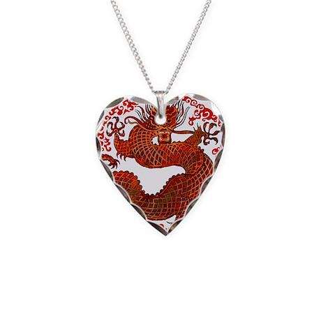 Dragon Twist Necklace Heart Charm