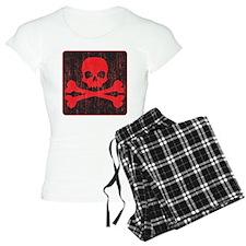 Red Pirate Skull Crossbones Pajamas